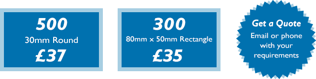500 30mm round digital stickers for £37